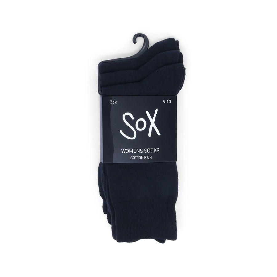 3 Pack Sox Cotton Rich Socks - Women's