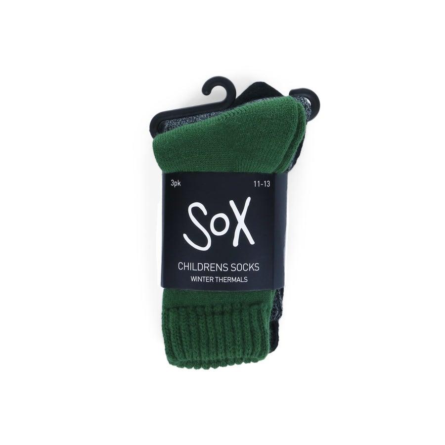 3pk Childrens Thermal Multi Sock