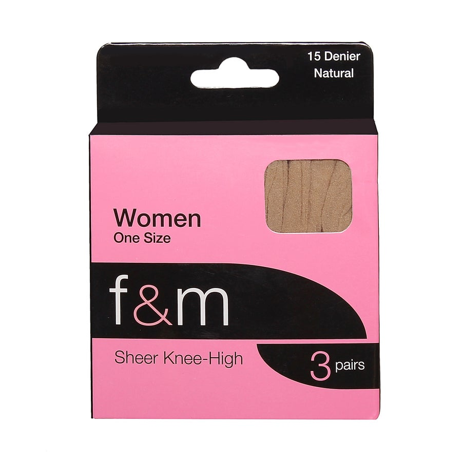 F&M Sheer Knee-High Tights - 3pk